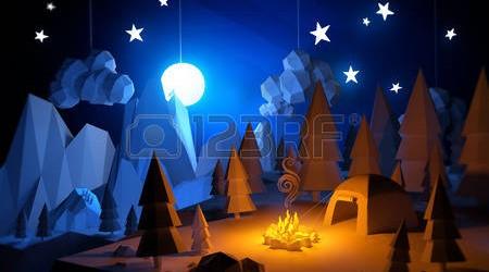 32346641-low-poly-3d-handemade-sentir-aventure-de-camping-paysage-camping-sous-la-pleine-lune